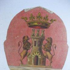 Carteles: PRECIOSO ESCUDO LITOGRAFICO TROQUELADO DE HARO, LOGROÑO, AÑOS 1890-1900. Lote 30098514