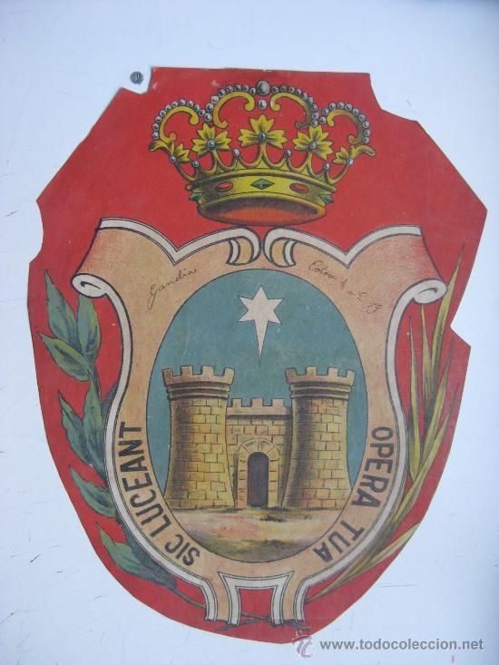 PRECIOSO ESCUDO LITOGRAFICO TROQUELADO DE GANDIA, VALENCIA, AÑOS 1890-1900 (Coleccionismo - Carteles Gran Formato - Carteles Varios)