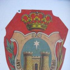 Carteles: PRECIOSO ESCUDO LITOGRAFICO TROQUELADO DE GANDIA, VALENCIA, AÑOS 1890-1900. Lote 30098594