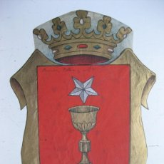 Carteles: PRECIOSO ESCUDO LITOGRAFICO TROQUELADO DE CUENCA, AÑOS 1890-1900. Lote 30098969