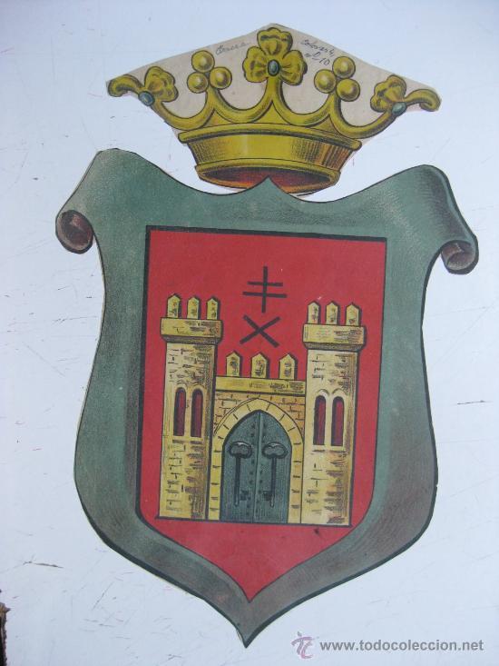 PRECIOSO ESCUDO LITOGRAFICO TROQUELADO DE BAEZA, JAEN, AÑOS 1890-1900 (Coleccionismo - Carteles Gran Formato - Carteles Varios)