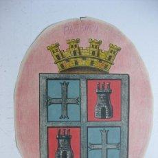 Carteles: PRECIOSO ESCUDO LITOGRAFICO TROQUELADO DE PALENCIA, AÑOS 1890-1900. Lote 30099810