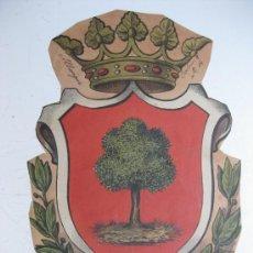 Carteles: PRECIOSO ESCUDO LITOGRAFICO TROQUELADO DE ALBERIQUE, VALENCIA, AÑOS 1890-1900. Lote 30107007