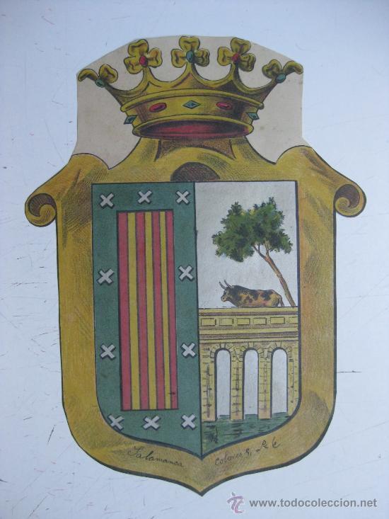 PRECIOSO ESCUDO LITOGRAFICO TROQUELADO DE SALAMANCA, AÑOS 1890-1900 (Coleccionismo - Carteles Gran Formato - Carteles Varios)