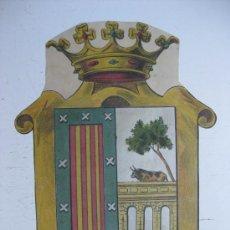 Carteles: PRECIOSO ESCUDO LITOGRAFICO TROQUELADO DE SALAMANCA, AÑOS 1890-1900. Lote 30107424