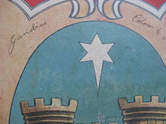 Carteles: PRECIOSO Escudo Litografico Troquelado de GANDIA, VALENCIA, años 1890-1900 - Foto 2 - 30098594