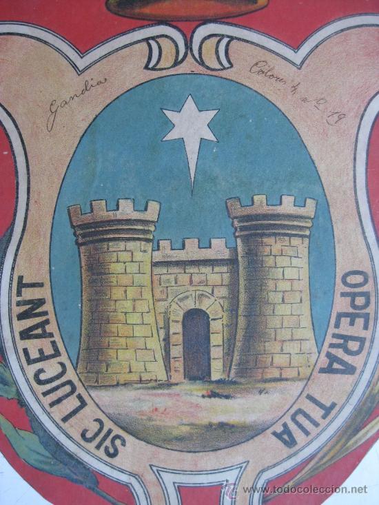 Carteles: PRECIOSO Escudo Litografico Troquelado de GANDIA, VALENCIA, años 1890-1900 - Foto 3 - 30098594
