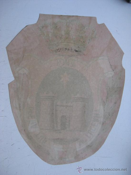 Carteles: PRECIOSO Escudo Litografico Troquelado de GANDIA, VALENCIA, años 1890-1900 - Foto 4 - 30098594