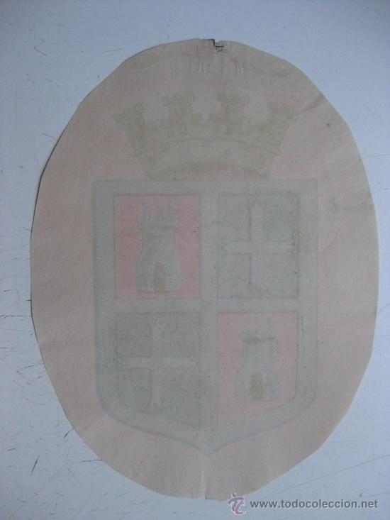 Carteles: PRECIOSO Escudo Litografico Troquelado de PALENCIA, años 1890-1900 - Foto 2 - 30099810