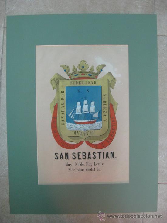 PRECIOSO ESCUDO DE SAN SEBASTIAN, AÑOS 1890-1900 - LITOGRAFIA (Coleccionismo - Carteles Gran Formato - Carteles Varios)