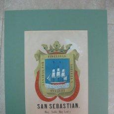 Carteles: PRECIOSO ESCUDO DE SAN SEBASTIAN, AÑOS 1890-1900 - LITOGRAFIA. Lote 16571254