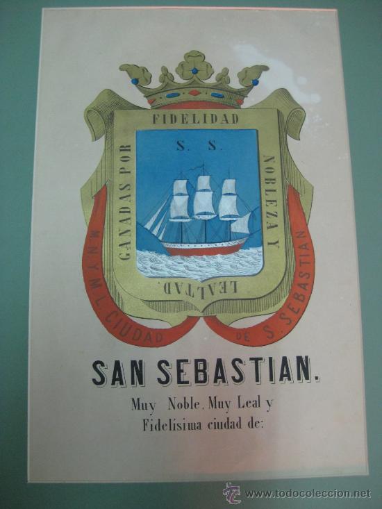 Carteles: PRECIOSO ESCUDO DE SAN SEBASTIAN, años 1890-1900 - LITOGRAFIA - Foto 2 - 16571254