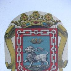 Carteles: PRECIOSO ESCUDO LITOGRAFICO TROQUELADO DESCONOCIDO, AÑOS 1890-1900. Lote 30140726