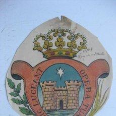 Carteles: PRECIOSO ESCUDO LITOGRAFICO TROQUELADO DESCONOCIDO, AÑOS 1890-1900. Lote 30140733