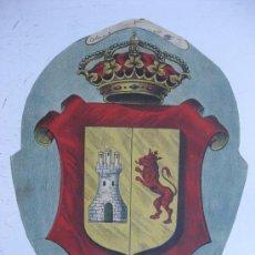 Carteles: PRECIOSO ESCUDO LITOGRAFICO TROQUELADO DE CACERES, AÑOS 1890-1900. Lote 30140753