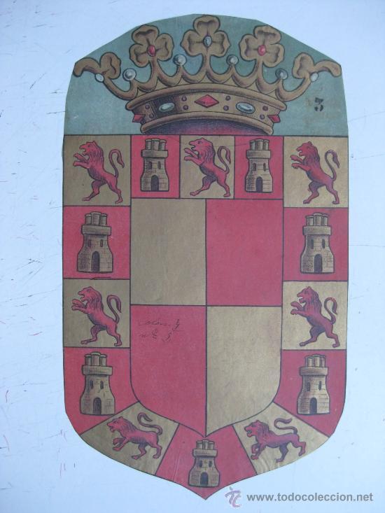 PRECIOSO ESCUDO LITOGRAFICO TROQUELADO DE JAEN, AÑOS 1890-1900 (Coleccionismo - Carteles Gran Formato - Carteles Varios)