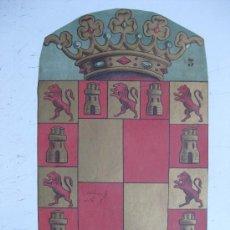 Carteles: PRECIOSO ESCUDO LITOGRAFICO TROQUELADO DE JAEN, AÑOS 1890-1900. Lote 30140790