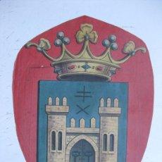 Carteles: PRECIOSO ESCUDO LITOGRAFICO TROQUELADO DE BAEZA, JAEN, AÑOS 1890-1900. Lote 30141308