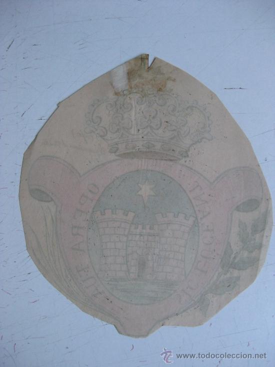 Carteles: PRECIOSO Escudo Litografico Troquelado DESCONOCIDO, años 1890-1900 - Foto 2 - 30140733