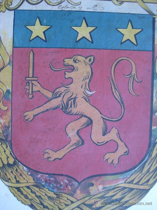 Carteles: PRECIOSO Escudo Litografico Troquelado DESCONOCIDO, años 1890-1900 - Foto 2 - 30140737