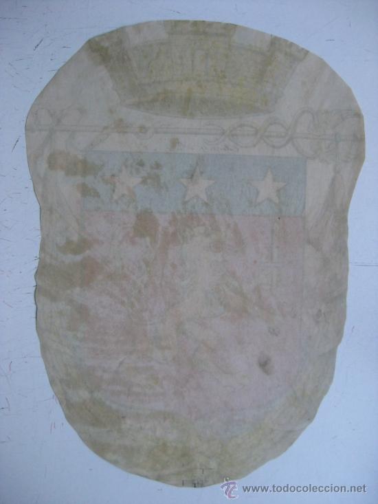 Carteles: PRECIOSO Escudo Litografico Troquelado DESCONOCIDO, años 1890-1900 - Foto 3 - 30140737