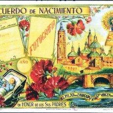 Carteles: 1950. LAMINA A COLOR RECUERDO DE NACIMIENTO EN PAPEL. IMP. Y EDITA T.G. CANTIN. ZARAGOZA- 47 X 34 CM. Lote 30248134