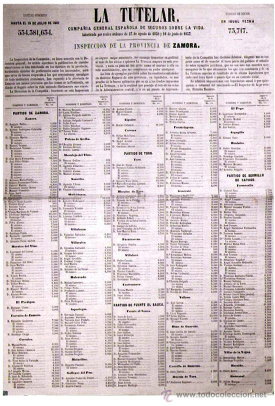 AÑO 1861.- CARTEL DE - LA TUTELAR - CIA. GRAL. ESPAÑOLA DE SEGUROS SOBRE VIDA, PROVINCIA DE ZAMORA. (Coleccionismo - Carteles Gran Formato - Carteles Varios)