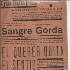 Carteles: PEQUEÑO CARTEL GRAN TEATRO FALLA DE CADIZ.1945. Lote 31066731