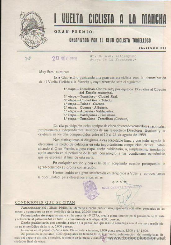 CARTEL DEL CLUB CICLISTA TOMELLOSO. I VUELTA CICLISTA A LA MANCHA. 1959. LEER (Coleccionismo - Carteles Gran Formato - Carteles Varios)