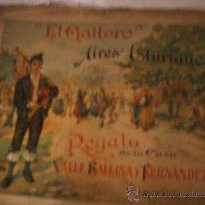 Carteles: CARTEL DE SIDRA EL GAITERO AÑOS 30 DESPLEGABLE Y CON 2 PARTITURAS MUSICALES UNA AUTENTICA RELIQUIA. Lote 31738048