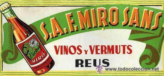 ANTIGUO CARTEL DISPLAY SOBREMESA VINOS Y VERMUT F. MIRO SANS REUS CARTON VERMOUTH 31X14 CM (Coleccionismo - Carteles Gran Formato - Carteles Varios)