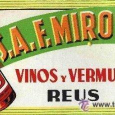 Carteles: ANTIGUO CARTEL DISPLAY SOBREMESA VINOS Y VERMUT F. MIRO SANS REUS CARTON VERMOUTH 31X14 CM. Lote 32402290