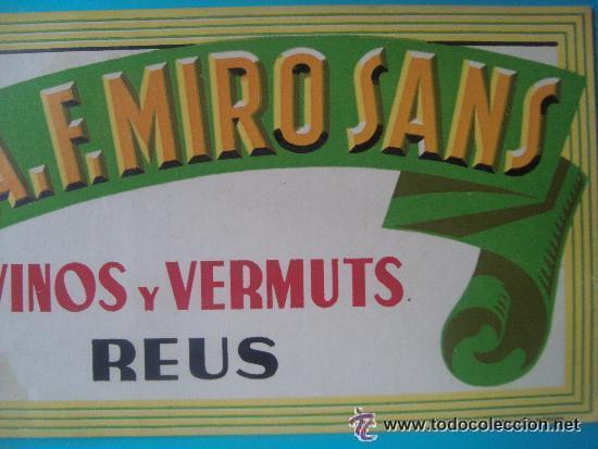 Carteles: antiguo cartel DISPLAY SOBREMESA VINOS Y VERMUT F. MIRO SANS REUS CARTON vermouth 31x14 cm - Foto 4 - 32402290