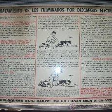 Carteles: CARTEL : TRATAMIENTO FULMINADOS DESCARGAS ELECTRICAS.. Lote 32489050