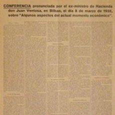 Carteles: CARTEL CONFERENCIA JUAN VENTOSA.1932.BILBAO. 40X56 CM.. Lote 33620555