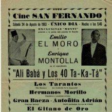 Carteles: CARTEL CINE SAN FERNANDO. AGOSTO 1963. EL MORO, MONTOLLA. ALI BABA Y LOS 40 TA-KA-TA.. Lote 33625491