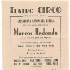 Carteles: ALCOY - ALICANTE - CARTEL PEQUEÑO TEATRO CIRCO 1956. Lote 34145635