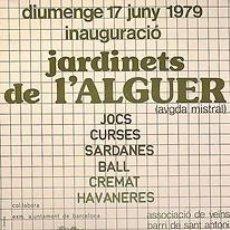 Carteles: CARTEL JARDINETS DE L'ALGUER.1979.21,5 X 32 CM.BARCELONA. Lote 34282859