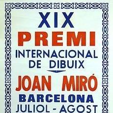 Carteles: CARTEL XIX PREMI DE DIBUIX JOAN MIRO 1980. ANTONI SENDER. 50X65. BARCELONA.. Lote 34362923