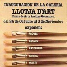 Carteles: CARTEL LLOTJA D'ART. JORDI CASTELLA. 40X58. BARCELONA. 1979. Lote 34428096