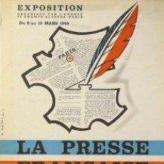 Carteles: CARTEL EXPO. PRESSE FRANÇAISE, BARCELONE.1968. HÉTREAU. Lote 34473724