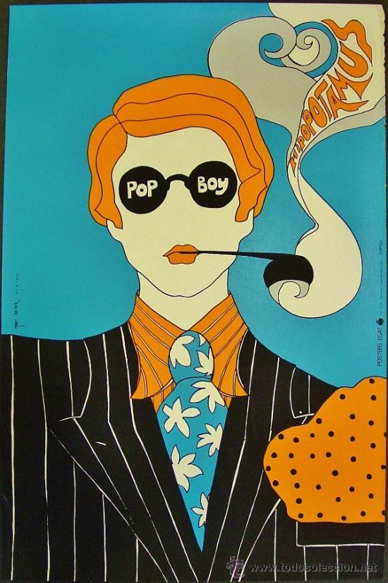 POP BOY. HIPOPOTAMUS. POSTERS EGAT. AUTOR: MARC REVER. AÑOS 60. (Coleccionismo - Carteles Gran Formato - Carteles Varios)