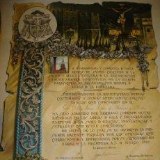 Carteles: SEMANA SANTA 1929, JEREZ, TÍTULO DE COFRADE, COFRADÍA SANTO CRUCIFIJO, RARO, ESPECTACULAR. Lote 35546180