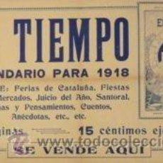 Carteles: CARTEL EL TIEMPO, CALENDARIO PARA 1918. 59X36 CM.. Lote 35767281