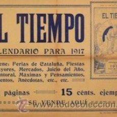 Carteles: CARTEL EL TIEMPO, CALENDARIO PARA 1917. 55X38 CM.. Lote 35767310