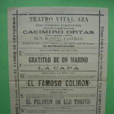 Carteles: CARTEL DE TEATRO VITAL - AZA , AÑO 1903 , COMPAÑIA CASIMIRO ORTAS , DON MANUEL CASTILLO. Lote 35810932