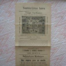 Affissi: CARTEL DE TEATRO - CIRCO LARA AÑO 1905 GRAN DEBUT DE LA NOTABLE TROUPE THE-RHEALY`S. Lote 35811797