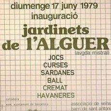 Carteles: CARTEL JARDINETS DE L'ALGUER. CATALUNYA. BARCELONA. 1979. 43X63. Lote 36018097