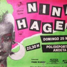 Carteles: NINA HAGEN. CARTEL CONCIERTO SAN SEBASTIÁN 1984. Lote 36997227