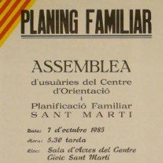 Carteles: CARTEL PLANING FAMILIAR ASSEMBLEA. Lote 37200064